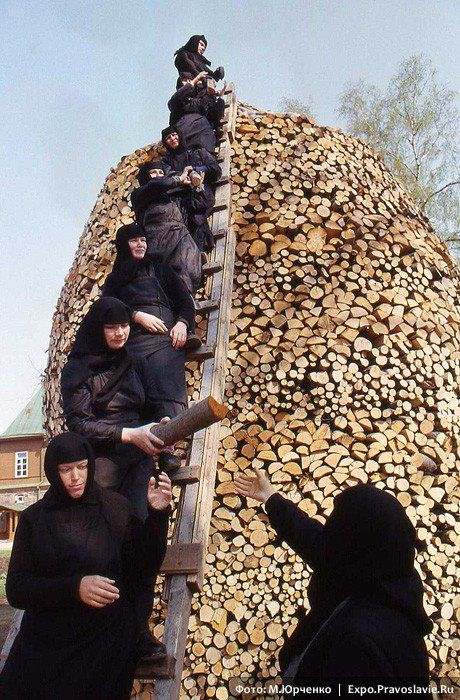 and this one isn't Antarctica, but looks like they're getting ready for a cold winter....stacking the wood for winter either that or they're building a funeral pyre for someone they really dont like watch out cliff