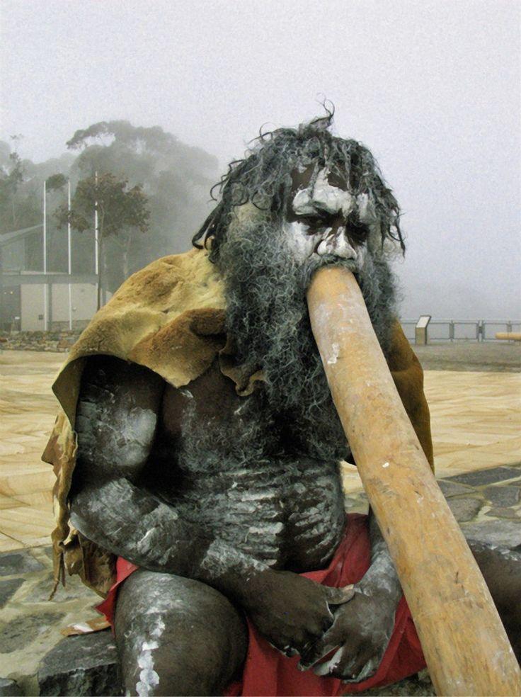 Australian Aborigine playing the Didgeridoo
