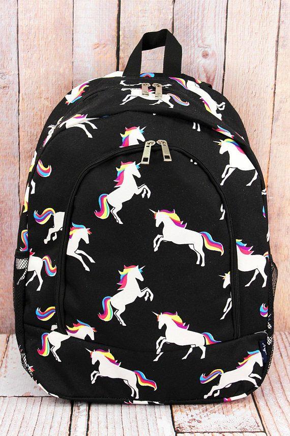 Monogrammed Unicorn Backpack School Embroidered Kids Custom Book Bag