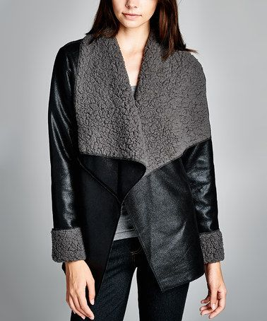 Look what I found on #zulily! Black Foldover-Lapel Faux Suede Open Jacket - Women #zulilyfinds