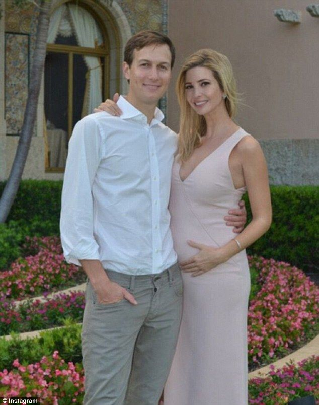 Growing family: Last week, the pregnant 34-year-old posed for this photo alongside her husband Jared as they enjoyed their last days at Mar-a-Lago, the Trump family's Florida estate