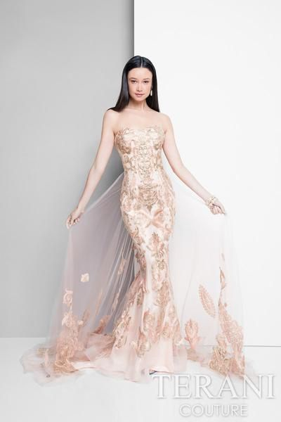 Terani Strapless Metallic Lace Gown With A Dramatic Overskirt