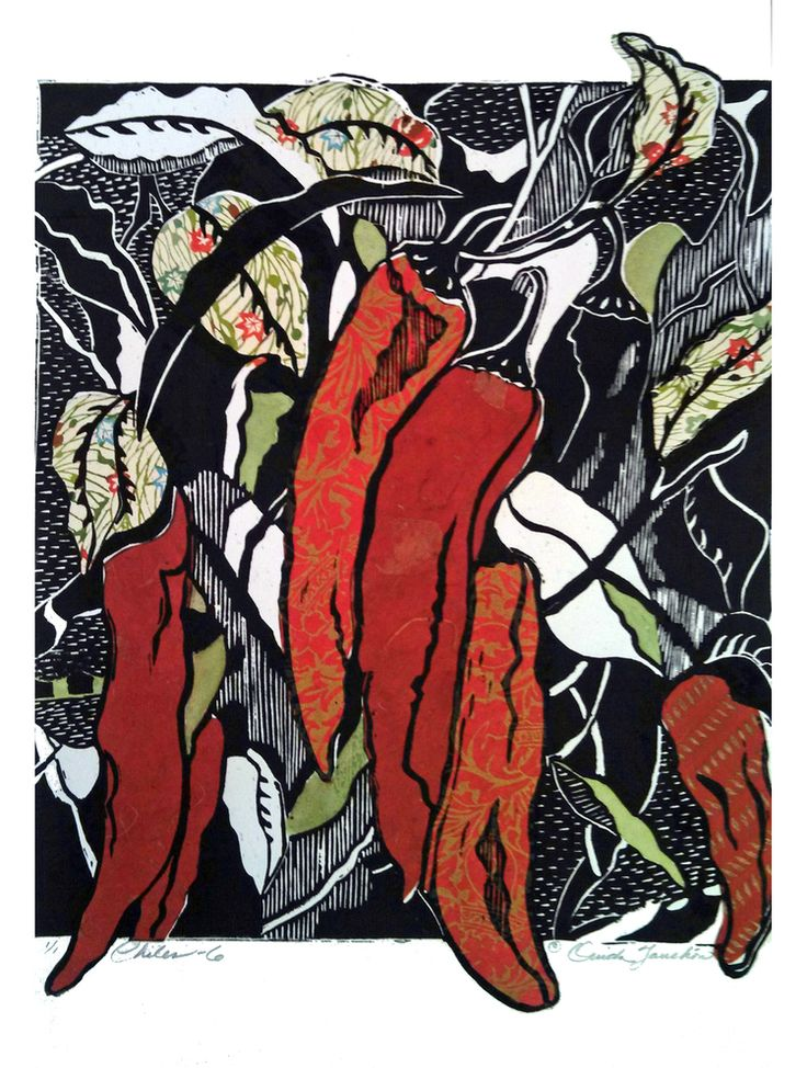 """Touchon One of a series of woodcuts with chine colle. New Mexican chiles #6. size 19""""x15""""."""