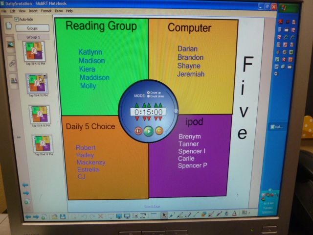 Love her idea for rotations during daily five using a smartboard chart