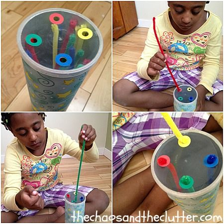 Pringles can, colored reinforcement circle and pipe cleaners (fine motor and colors)