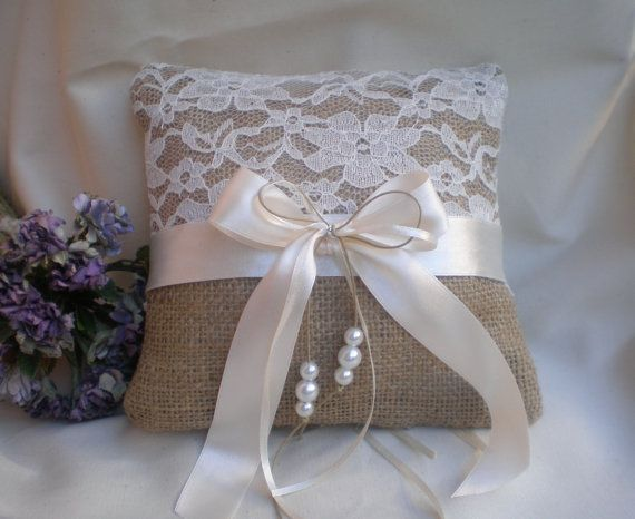 Ring Bearer Pillow Wedding pillow-burlap and lace by CraftStories