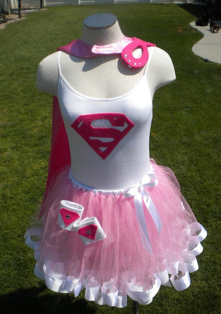 Runners Supergirl Super Hero Costume Cape Mask Cuffs Tutu. $79.00, via Etsy.
