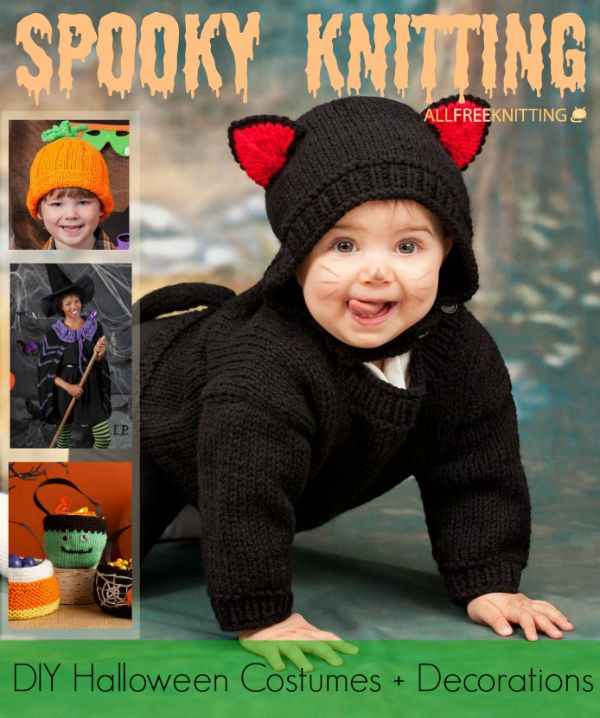 knit your very own halloween costumes and decorations this year with the help of these spooky