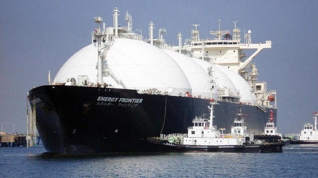 A liquefied natural gas tanker arrives at a gas storage station east of Tokyo on April 6, 2009. The shuttering of Japan's nuclear power plants has driven an increased reliance on natural gas and other fossil fuels.