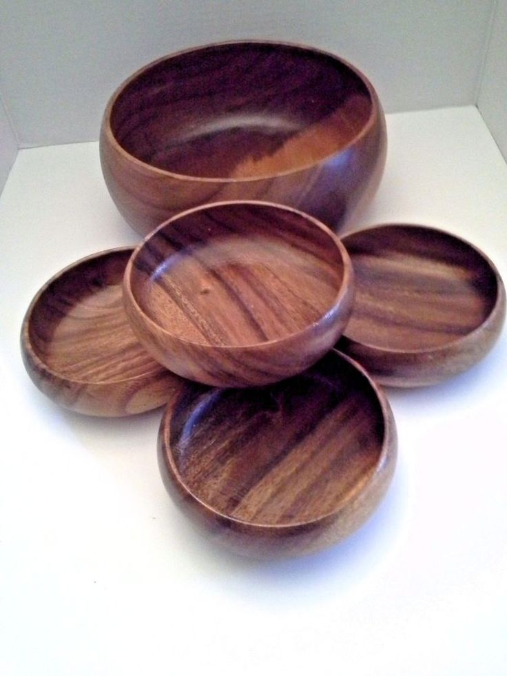 "Vintage 5 PC Wood Round Salad or Soup Bowl Set 9.5"" Serving Bowl & 4 Side Bowls #Unbranded"