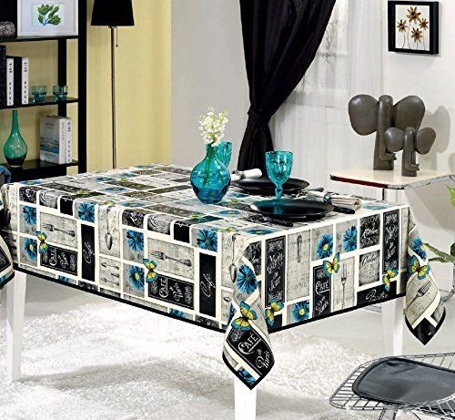 Keensburg Cafe Bistro Vinyl Indoor/Outdoor Non-Woven Backing Kitchen Picnic Tablecloth