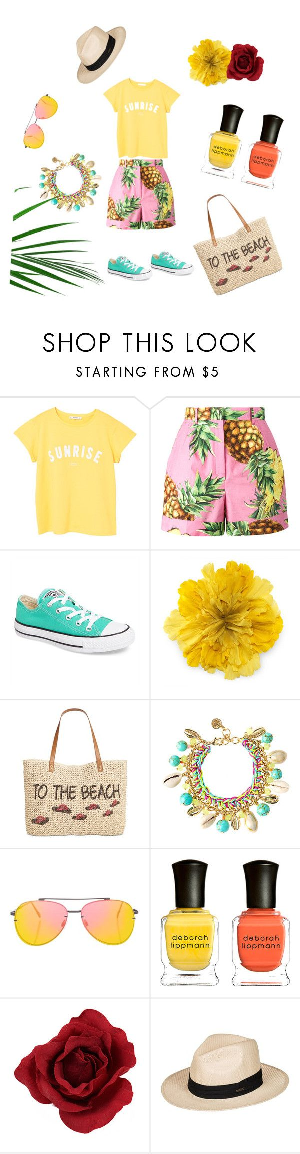 """#Пляжная_вечеринка"" by jeanne-creative ❤ liked on Polyvore featuring MANGO, Dolce&Gabbana, Converse, Gucci, Style & Co., Lilly Pulitzer, Topshop, Deborah Lippmann and Roxy"
