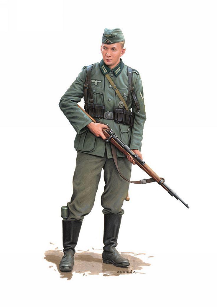 """""""Gefreiter"""" (Cabo), 29 División de Infantería mecanizada, al sur de Smolensk en Julio de 1941. Ilustración de Dmitry Zgonnik."""