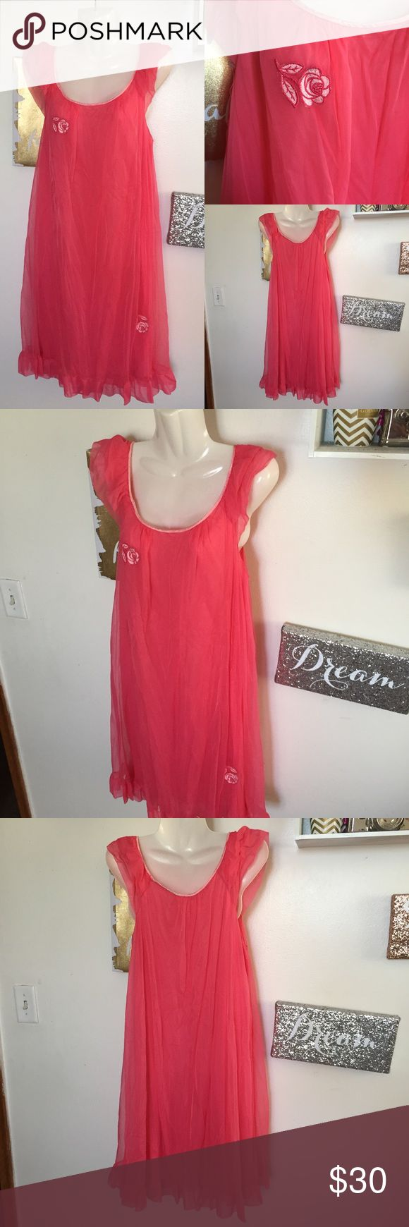 Vintage 1960's Gossard Artemis Gown Preowned in great condition. 100% nylon. 2 layers. Pink satin neckline. Flower decorations. 2 layers of ruffles on the shoulders. Smoke free home. The color is coral Gossard Artemis Intimates & Sleepwear Chemises & Slips