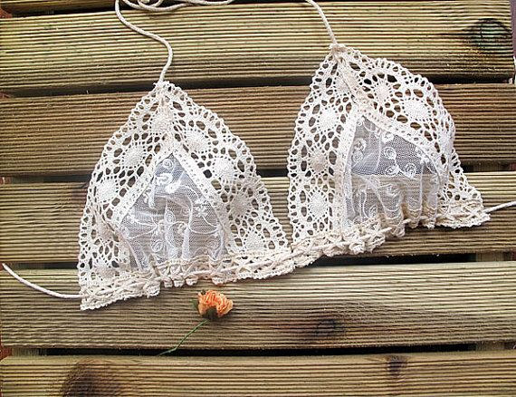 Beige Lace Swimsuit Bandeau Bikini Top, Beige Bandeau Bikini Top Girly Accessories, Beach Fashion