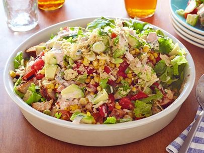 Ree Drummond's Southwest Chicken Chopped Salad.  It would be easy to lighten up the dressing to make this a little healthier.  This is a meal in a salad.  Great way to use up that fresh corn on the cob!