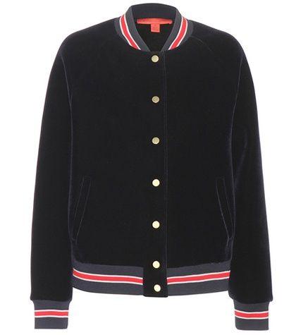 Navy Tommy hilfiger bomber jacket for woman Varsity Navy Blue, Red And White Velvet Bomber Jacket By Tommy Hilfiger #chaquetabomber #bómber #bombers