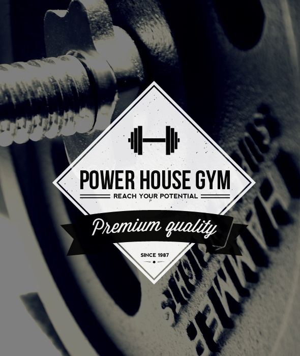 """""""Power House Gym - Vintage Gym Label/Badge"""" Buy from…"""