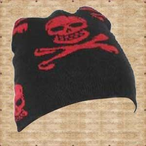 A black cotton skull beannie with many red skulls and skulls and crossbones. The Red Skull and Crossbones Beanie by Queen of Darkness in the Skulls and Dragons accessories range.    Weight : 20.00g    Made from cotton    Ref : SDACP00807   Price : 4.99 GBP
