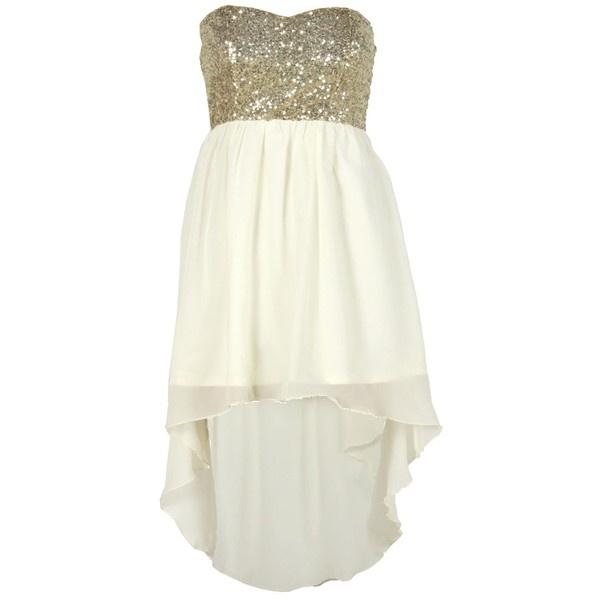 Cream Sheer Sequin Boob Tube Mixi Dress Dipped Hem ($31) ❤ liked on Polyvore