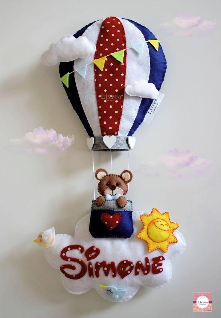 Fiocco nascita mongolfiera con orsacchiotto in pannolenci - by Livrea Handmade