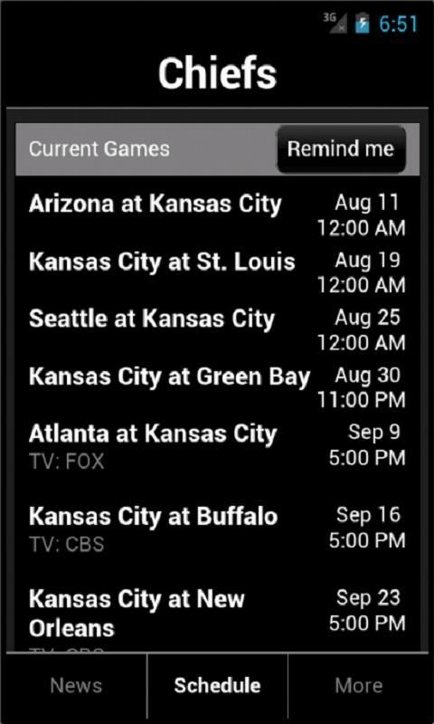 Kansas City Chiefs fans!<br/><br/>See the latest Chiefs news from the best Kansas City Chiefs news sources. Game time alerts and an easy-to-read schedule makes sure you never miss out on a Chiefs game.<br/><br/>Features:<br/>- Kansas City Chiefs news constantly updated<br/>- Articles optimized for your Android device<br/>- Up to date Kansas City Chiefs schedule<br/>- Scores from past Kansas City Chiefs games<br/>- Reminders for every Kansas City Chiefs game (optional)<br/><br/>Content…