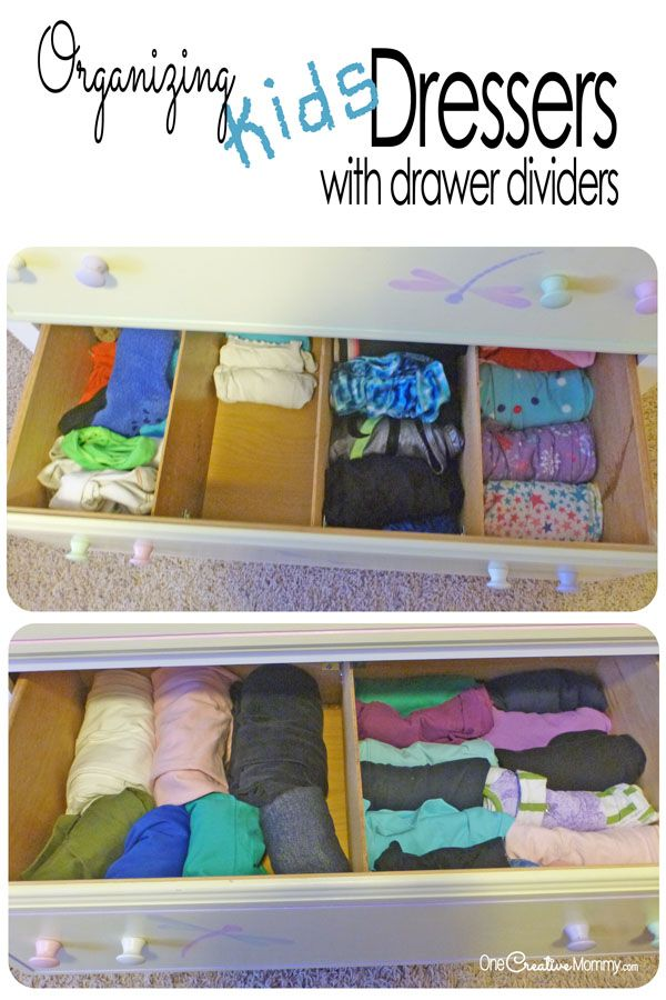 Organize those messy drawers with dividers {tutorial to make your own at OneCreativeMommy.com} Dresser organization for kids
