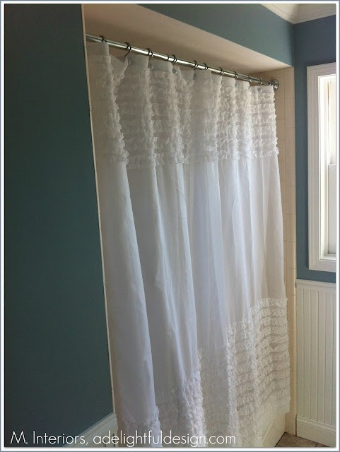 ruffled shower curtain via target bathroom pinterest. Black Bedroom Furniture Sets. Home Design Ideas