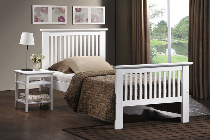 """Value+Ashling+White+Bedstead+-+Double+(4'6"""")+-+The+Ashling+White+bedstead+features+a+modern+design+with+slatted+head+and+footboards,+with+a+white+finish.Features:+Oak+finishModern+designAvailable+in+single,+double+and+king+sizes++Dimensions:+1990L+x+1470W+x+1030H+mm+/+78.5L+x+58W+x+40.5H+inch+Please+note:Mattress+not+included"""