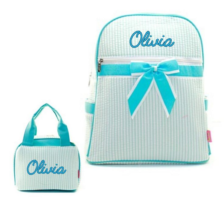 """Matching Backpack Lunch Bag Personalized Seersucker Aqua Blue 15"""" Quilted Backpack"""