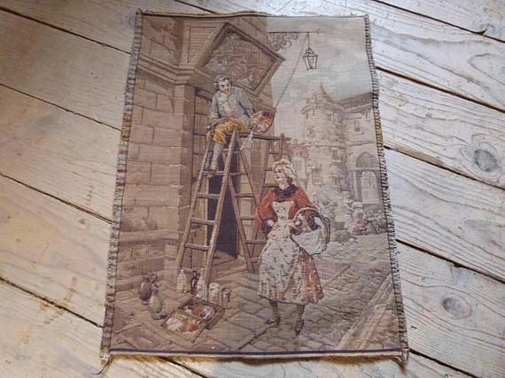 Antique French tapestry wall hanging art decor 1900s Chateau wall tapestry w elegant scene French boudoir Paris home decor wall tapestries b... Be Inspired! #homedecor #wallart #walldecor