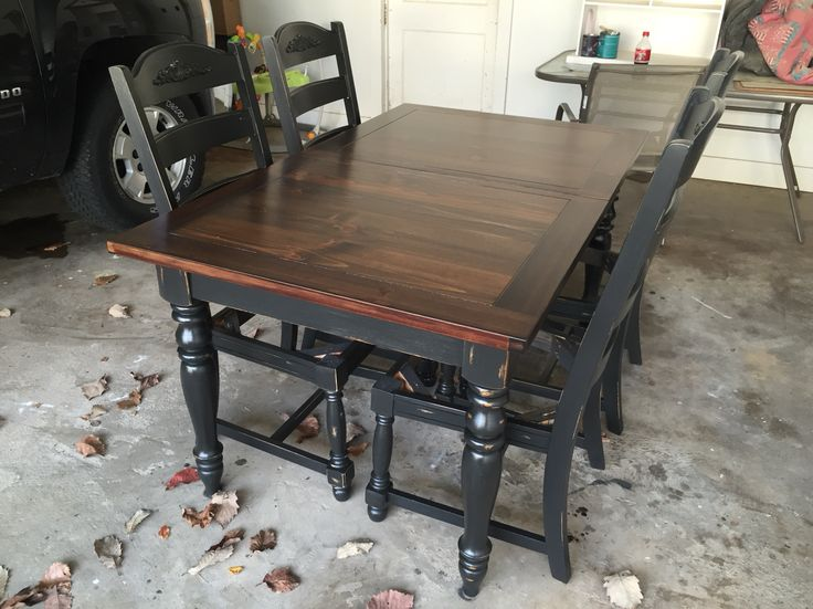 Refinished oak table, base and chairs chalk painted Black Velvet and sealed with polycrylic (3 coats), top stained in dark walnut