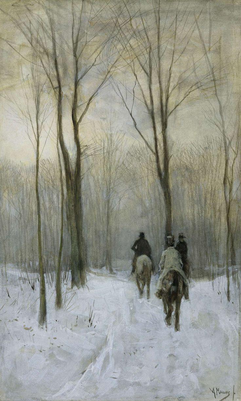 Ruiters in de sneeuw in het Haagse Bos, Anton Mauve, 1880