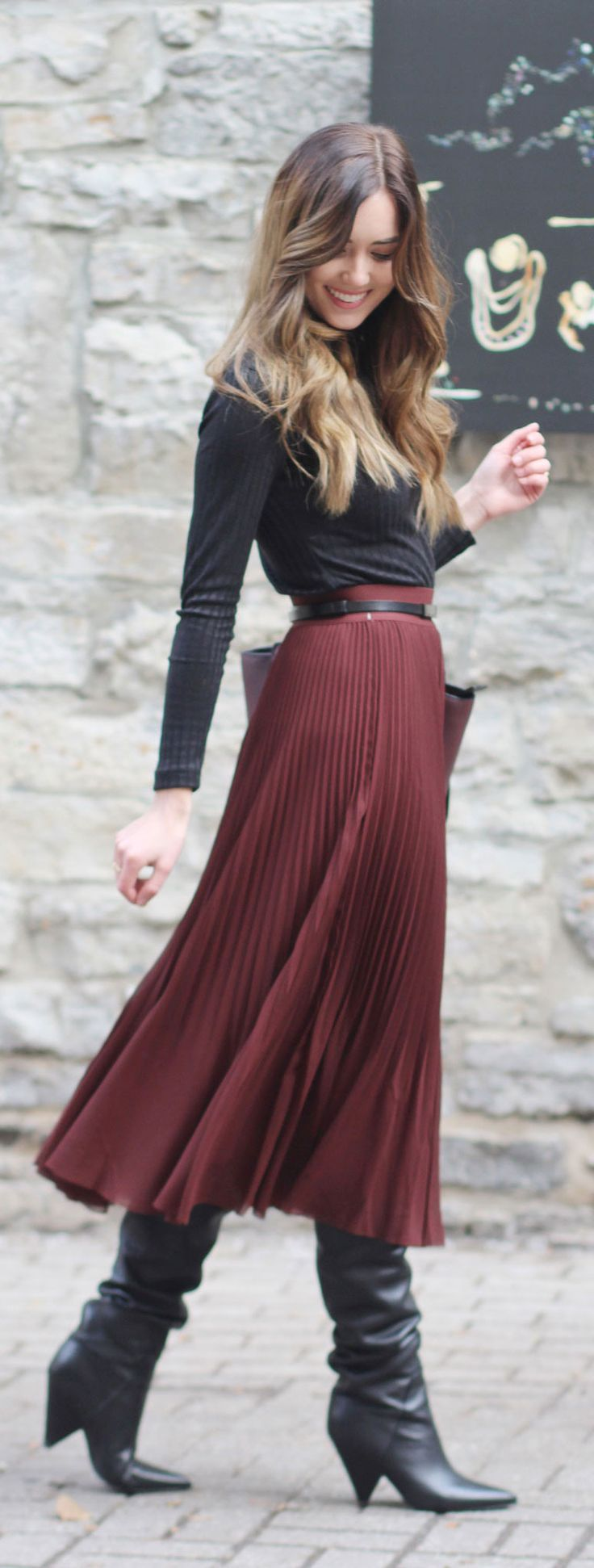 PLEATED SKIRT ALERT! This stunner is the perfect way to add some feminine vibes to a winter outfit (the leather boots are on sale!) #fashion #fashionblogger #pleats #leather #burgundy by Marie's Bazaar