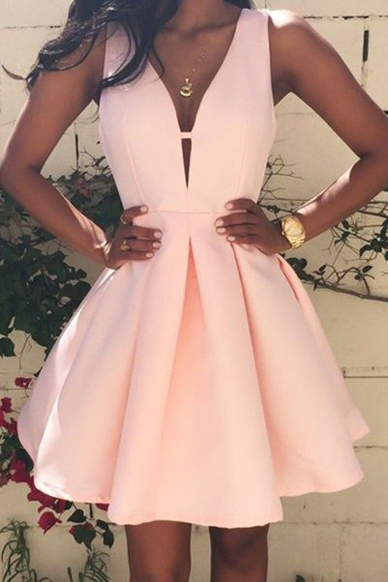 Pink Plain Pleated Zipper V-neck Sleeveless Sexy Homecoming Cute Mini Dress – Mini Dresses – Dresses