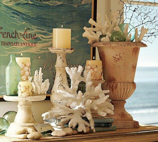 Beachy: Vignettes, Coral, Decor Ideas, Ocean Theme, Candles, Beaches Houses, Beaches Decor, Pottery Barns, The Sea