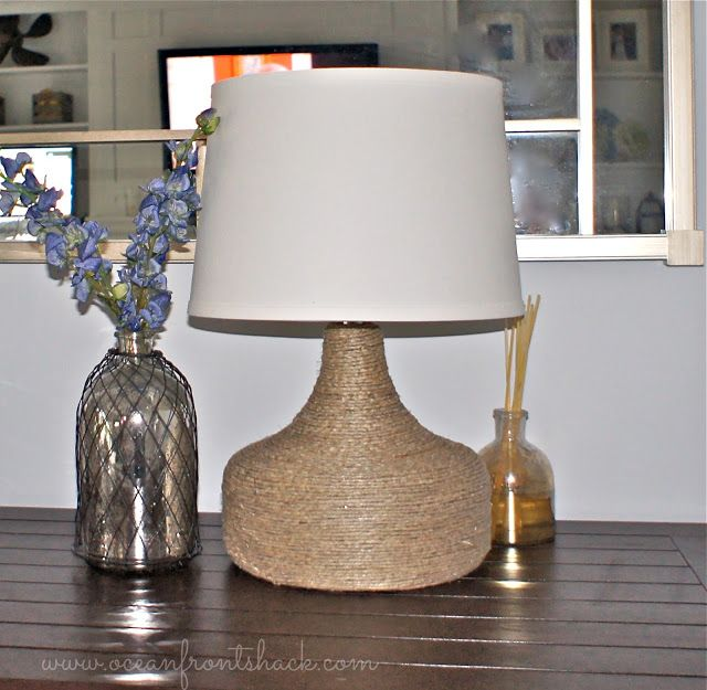 Easy DIY Tutorial Upcycle An Old Lamp By Wrapping It In Rope
