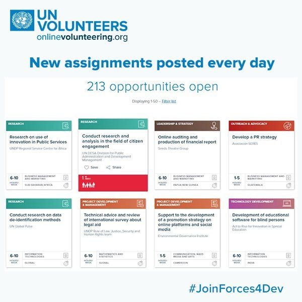 What types of online volunteer assignments are available? What types would YOU post at http://onlinevolunteering.org ? #JoinForces4Dev