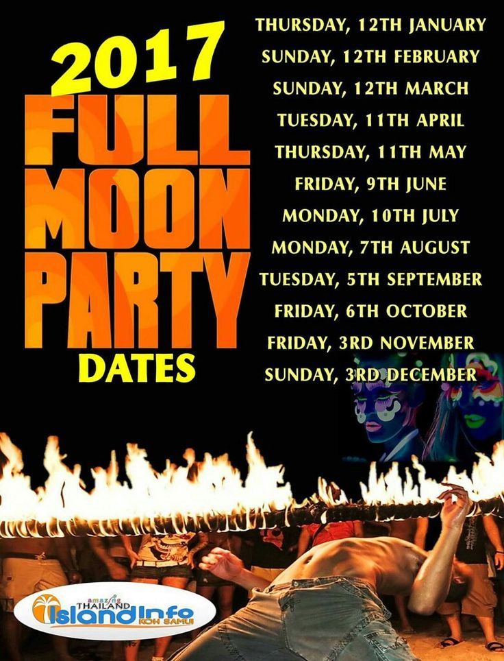 2017 Full Moon Party Dates