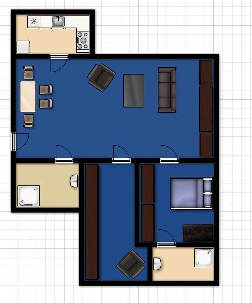 Rough layout of Edtroka's apartment.