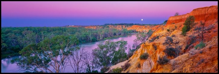 Renmark Moon - Murray River, South Australia. As the days end draws near, the full moon begins it's night's journey. The river reflects the skies beautiful pink and purple hues. Such an unique and beautiful part of the world.