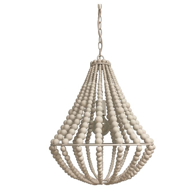 The white wooden beads that make up this suspended fixture give it an original and exotic look. It is part of the Perlina collection by Lumirama. You...