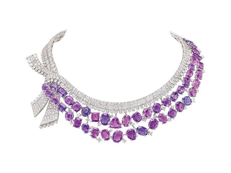 MESSAGE DES HIRONDELLES NECKLACE -  White gold, pink gold, diamonds, colored sapphires, coral, red enamel, 52 fancy-cut mauve sapphires for a total of 142.10 carats (Madagascar)