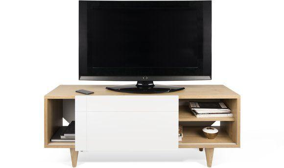 Meuble Tv Blanc Et Chene Cruz Tema Home Tv Stand Furniture