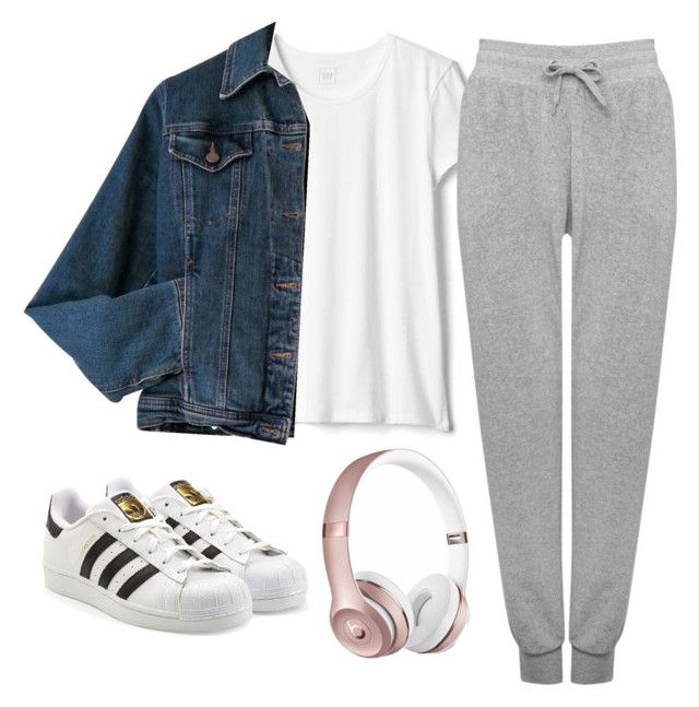 """Airport attire"" by pequeno-sarah on Polyvore featuring M&Co, Moschino, Beats by Dr. Dre and adidas Originals"
