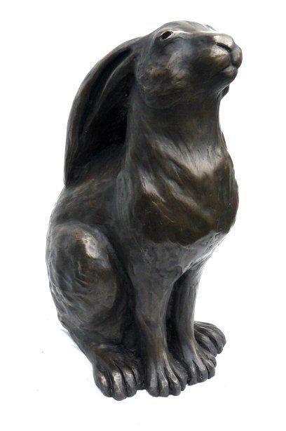 bronze moon gazing hare sculpture