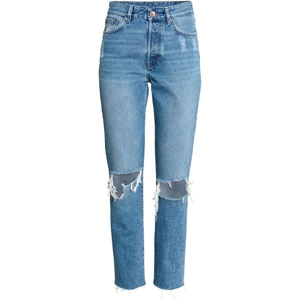 Vintage High Cropped Jeans $39.99 ($40) ❤ liked on Polyvore featuring jeans, pants, bottoms, jeans/pants, pantalones, high rise jeans, distressed jeans, blue distressed jeans, ripped denim jeans and denim jeans