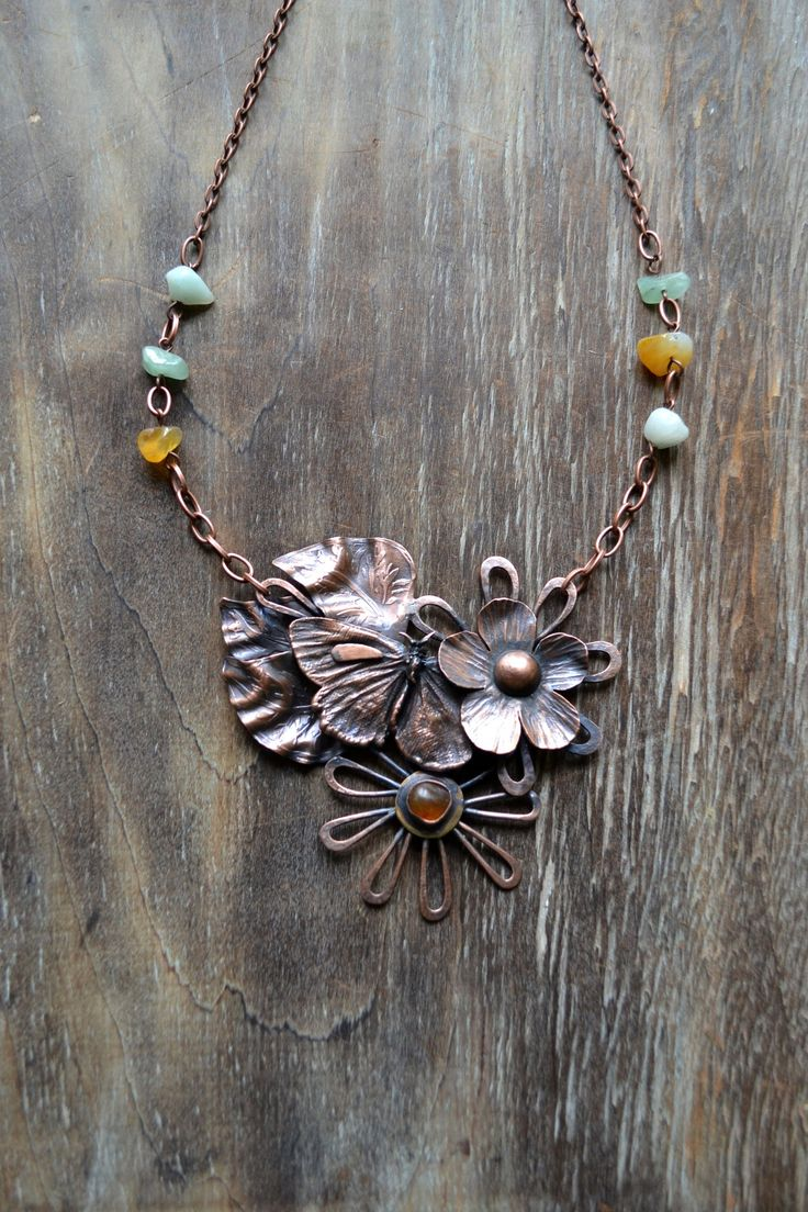 Statement necklace in copper and fire enamels Handmade jewelry with celtic spiral decorations unique gift for original lady summer present