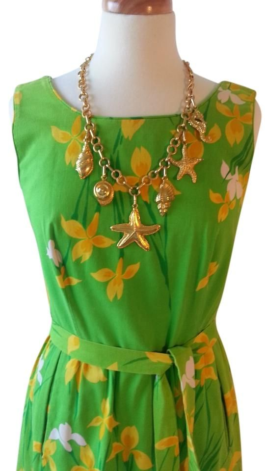 Bright Green And Yellow Print 1970's Dress. Free shipping and guaranteed authenticity on Bright Green And Yellow Print 1970's Dress at Tradesy. Malia of Honolulu 1970's Sundress  Size Medium (8...