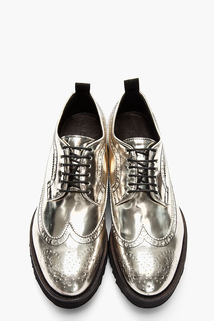 Dsquared² Silver Patent Leather Shark Show Longwing Brogues in Silver for Men | Lyst